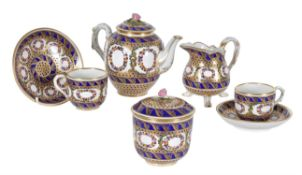 A French porcelain Sevres style tête-à-tête part tea service
