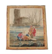 An Aubusson 'seaport' genre tapestry