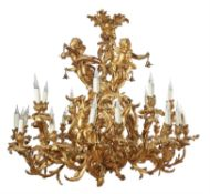 A substantial gilt bronze twenty-five light chandelier in Louis XV taste