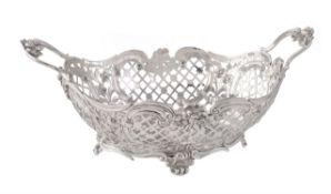A Victorian silver shaped oval basket by Susannah Brasted