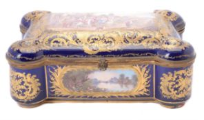 A French Sevres-style pottery and gilt metal mounted casket