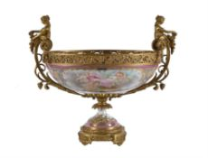 A French Sevres-style porcelain and gilt bronze mounted twin-handled pedestal centrepiece