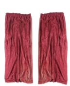 Two pairs of plum red damask curtains