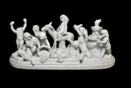 Attributed to Paul Brou, a Continental sculpted white marble Bacchanal