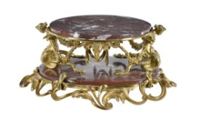 A Napoleon III Rouge Royal and gilt bronze mounted centrepiece stand