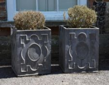 A pair of lead planters in George II style