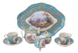 A French porcelain Sevres-style turquoise-ground tête-à-tête cabaret tea service