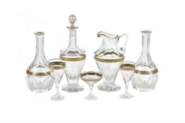 A modern Moser clear glass and gilt part table service