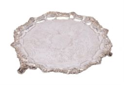 A William IV silver shaped circular salver by Henry Wilkinson & Co.