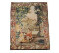 A Flemish mythological tapestry with Eurydice bitten by a snake