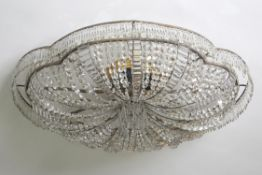 A large Continental cut glass ceiling light