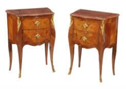 Y A pair of French kingwood, inlaid, and gilt metal mounted petite commodes