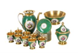 A Paris porcelain Empire-style green-ground and gilt part coffee service