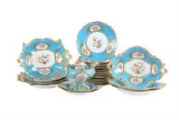 A Coalport bone china Sevres-style turquoise ground part dessert service