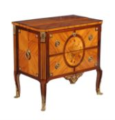 Y A French tulipwood and floral inlaid and gilt metal mounted secretaire