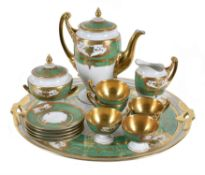 A Continental green and gilt part coffee service