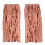 Two pairs of pale salmon damask curtains