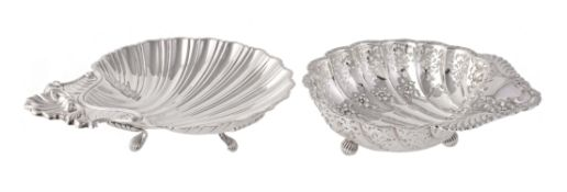 Two silver shell dishes