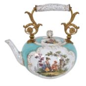A Meissen (outside decorated) gilt-metal mounted kettle and cover