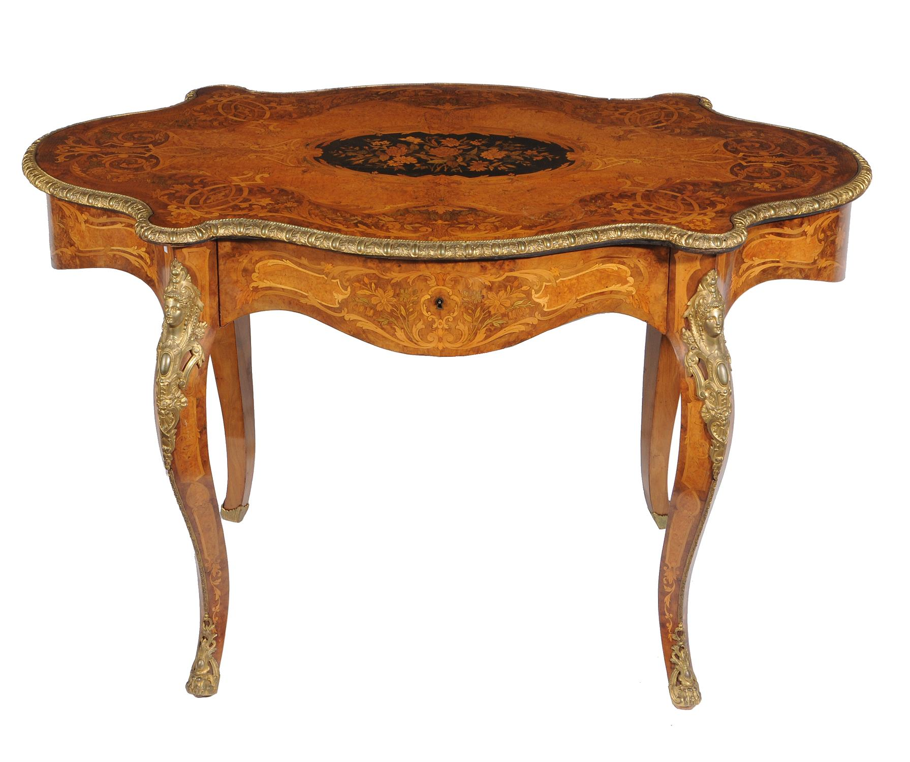 Lot 50 - A French walnut, gilt metal mounted and floral marquetry inlaid centre table,