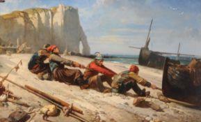 Eugène Modeste Edmond Le Poitevin (French 1806-1870) , Fishermen hauling a boat
