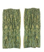 Two pairs of olive green damask curtains