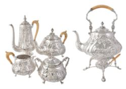 Y An Austro-Hungarian silver baluster five piece tea and coffee service by Vinzenz Mayer's Sohne