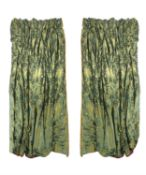 A pair of olive green damask curtains
