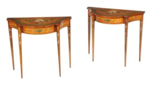 A pair of satinwood and polychrome painted side tables in George III style