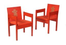 A pair of armchairs from the investiture of the Prince of Wales