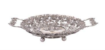 A German silver parcel gilt oval dessert basket by Mehlbaum