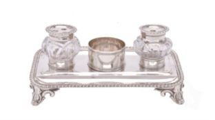An early Victorian silver rectangular inkstand by Edward, Edward junior, John & William Barnard