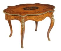 A French walnut, gilt metal mounted and floral marquetry inlaid centre table,
