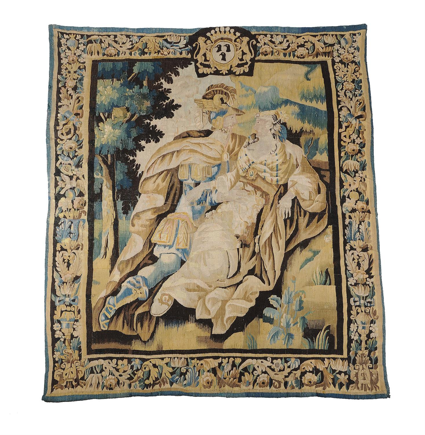 A Louis XIV Aubusson historical tapestry with Dido and Aeneas resting