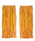 Two pairs of pearlescent orange red silk curtains