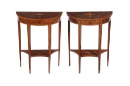 A pair of Edwardian mahogany, crossbanded and marquetry occasional tables