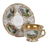 A Russian porcelain (Kornilov Bros.) teacup and saucer