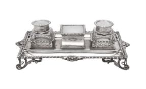 A late Victorian rectangular inkstand by Charles Stuart Harris