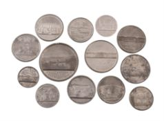Railway and Bridge medals (13) in white metal