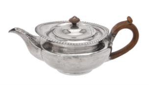 A George IV silver tea pot by Rebecca Emes & Edward Barnard I