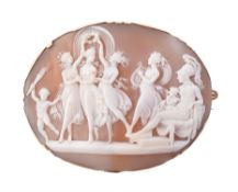 An early 19th century shell cameo of Venus and the Three Graces dancing in the presence of Mars