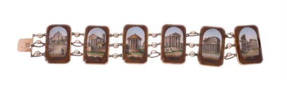 A mid 19th century Italian Grand Tour souvenir micro mosaic bracelet