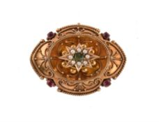 A mid Victorian ruby, emerald and seed pearl brooch