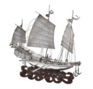 A Chinese export silver model of a three-masted ship