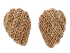 A pair of 18 carat gold woven earrings