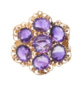 An early Victorian gold and amethyst brooch