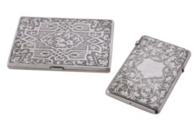 Two silver rectangular card cases