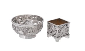 Two Chinese export silver small bowls
