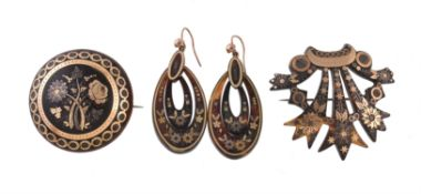 Y A pair of mid Victorian tortoiseshell pique earrings