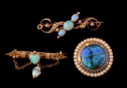 A late Victorian gold and opal brooch